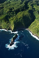 Aerial view of Maui, Hawaii coast with rock jutting out of Pacific ocean