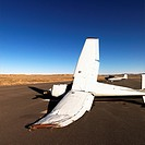Crashed plane on tarmac at Canyonlands Field Airport, Utah, United States