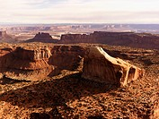 Aerial landscape of rock formations in Canyonlands National Park, Utah, United States