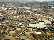 Aerial view of liquid storage tanks in Los Angeles California oil refinery