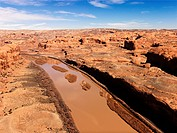 Aerial landscape of river in Canyonlands National Park