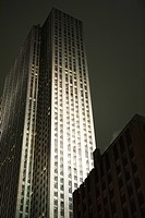 Skyscraper spot lit at night