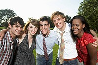 Portrait of five teenagers