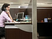 Office worker talking on phone