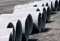 Stack of Precast concrete pipes