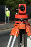 Road improvement scheme. Detail of a theodolite.