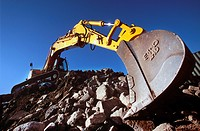 Crawler excavator on brownfiled site