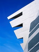 Architectural detail of concrete building with modern shape