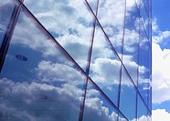 Blue Sky and clouds reflected on building exterior