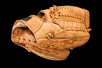 Baseball glove on black