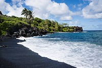 Black sand beach in Maui, Hawaii