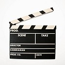 Movie scene clapboard with blank copy space against white background