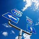 Highway interstate 10 sign with arrows showing direction