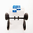 Rolodex with blue letter tabs