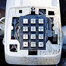 Closeup of old dirty telephone