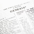 Selective focus of Genesis verses in open Holy Bible