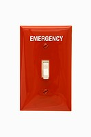 Red emergency switchplate with switch in off position
