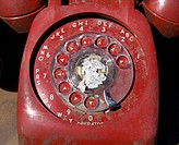 Close up of old_fashioned rotary telephone