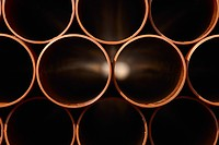 Stack of pipes on a building merchant yard (thumbnail)