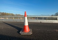 Red cone on a motorway