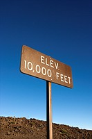 Elevation sign in Haleakala National Park in Maui, Hawaii
