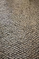 Stone inlayed street in Lisbon, Portugal