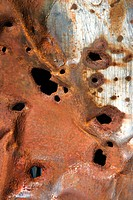 Old rusty metal with holes