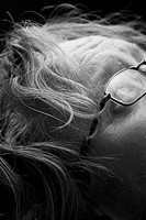 Black And White, Extreme Close_Up, Eyeglasses, Forehead, Human Face, Indoors