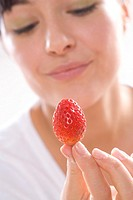 beauty woman with strawberries