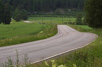Country Road, Countryside, Curving, Day, Dividing Line
