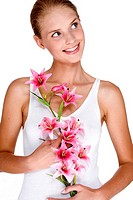 smilling woman with orchid