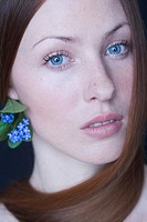 Beauty woman with forget-me-nots (thumbnail)