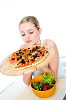 Young woman with pizza (thumbnail)