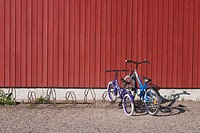 bicycle stand, bicycles, boards