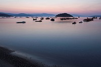 Boat, Coast, Dusk, Hill, Horizon
