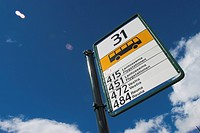 Blue Sky, Bus Stop, Close_Up, Clouds, Day