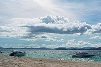 Beach, boats, motor boats, sand, sea, horizon