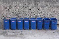 Blue, Concrete, Day, Garbage, Garbage Bin