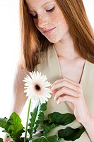 Young woman with potted flower (thumbnail)