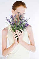 Young woman with lavender (thumbnail)