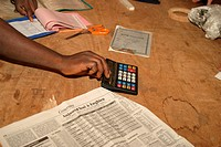 person, hand, holding, calculator, bill, calculations