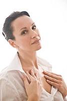 woman creaming neckline