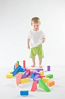 baby playing with bricks