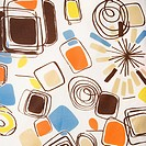 Close_up of colorful vintage fabric with abstract shapes and swirls printed on polyester