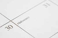 Close up of calendar displaying Halloween