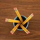 Bird's eye view of wooden pencils in cup
