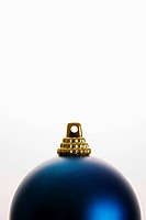 Still life of blue Christmas ornament