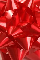 Close_up of big red Christmas bow
