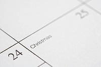 Close up of calendar displaying Christmas