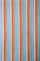 Close_up of woven vintage fabric with blue and brown stripes on cotton